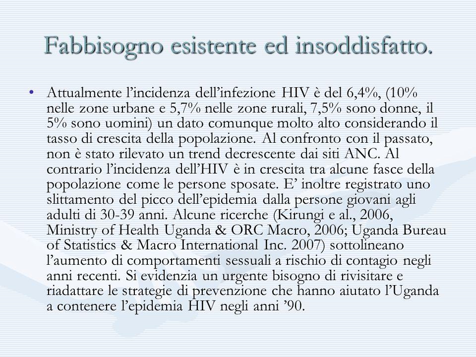 Fabbisogno esistente ed insoddisfatto. Attualmente lincidenza dellinfezione HIV è del 6,4%, (10% nelle zone urbane e 5,7% nelle zone rurali, 7,5% sono