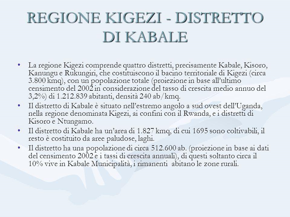 REGIONE KIGEZI - DISTRETTO DI KABALE La regione Kigezi comprende quattro distretti, precisamente Kabale, Kisoro, Kanungu e Rukungiri, che costituiscon