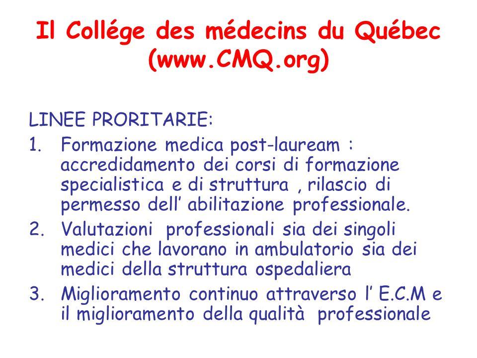 Il Collége des médecins du Québec (www.CMQ.org) LINEE PRORITARIE: 1.Formazione medica post-lauream : accredidamento dei corsi di formazione specialistica e di struttura, rilascio di permesso dell abilitazione professionale.