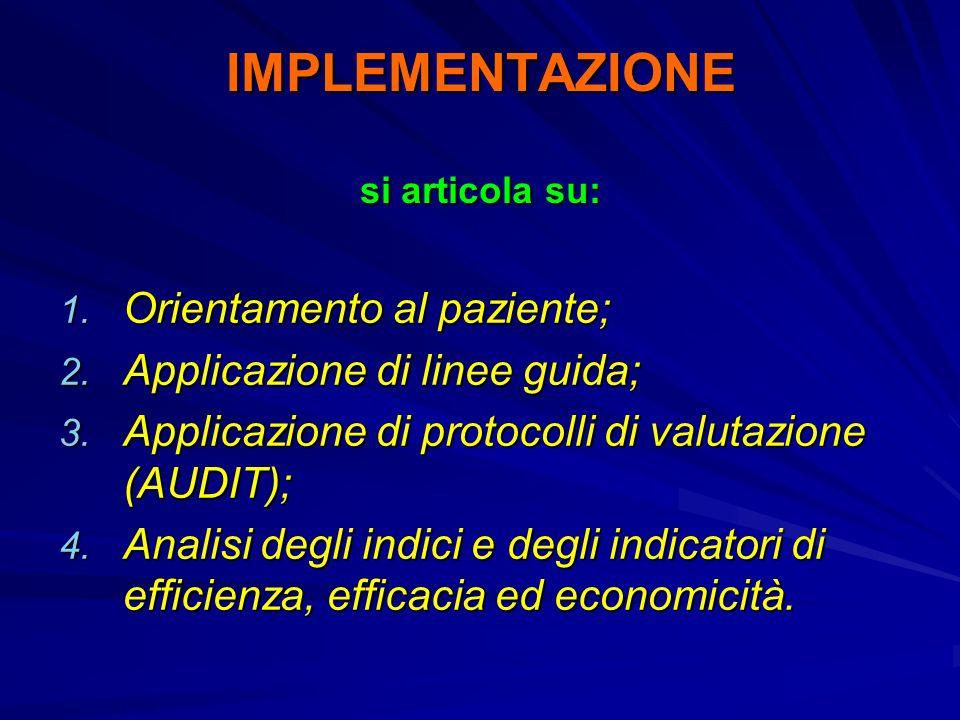 IMPLEMENTAZIONE si articola su: 1. Orientamento al paziente; 2. Applicazione di linee guida; 3. Applicazione di protocolli di valutazione (AUDIT); 4.