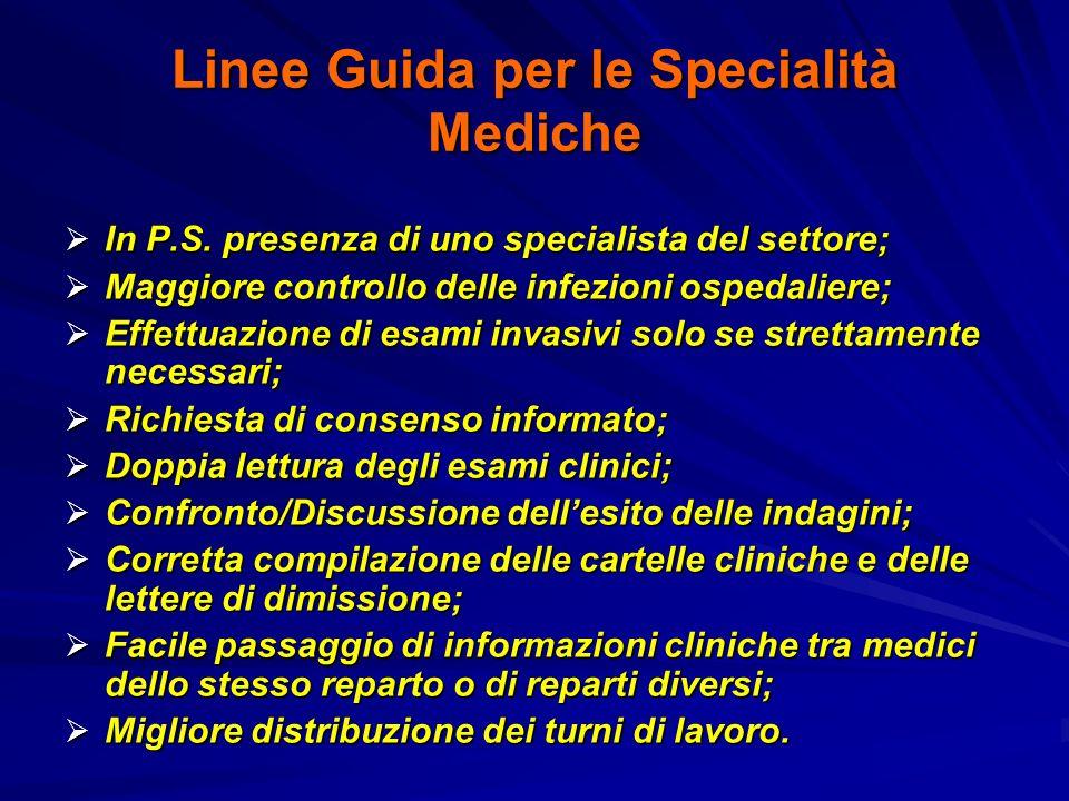 Linee Guida per le Specialità Mediche In P.S. presenza di uno specialista del settore; In P.S. presenza di uno specialista del settore; Maggiore contr
