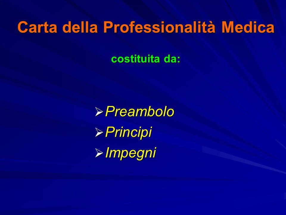 Carta della Professionalità Medica costituita da: Preambolo Preambolo Principi Principi Impegni Impegni