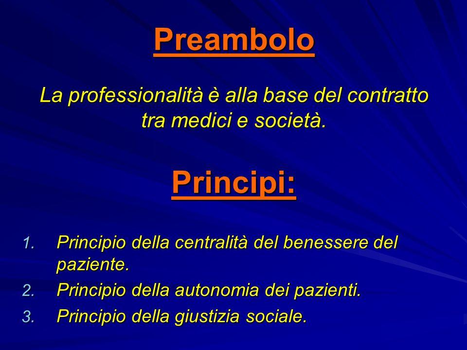 Preambolo La professionalità è alla base del contratto tra medici e società. Principi: 1. Principio della centralità del benessere del paziente. 2. Pr