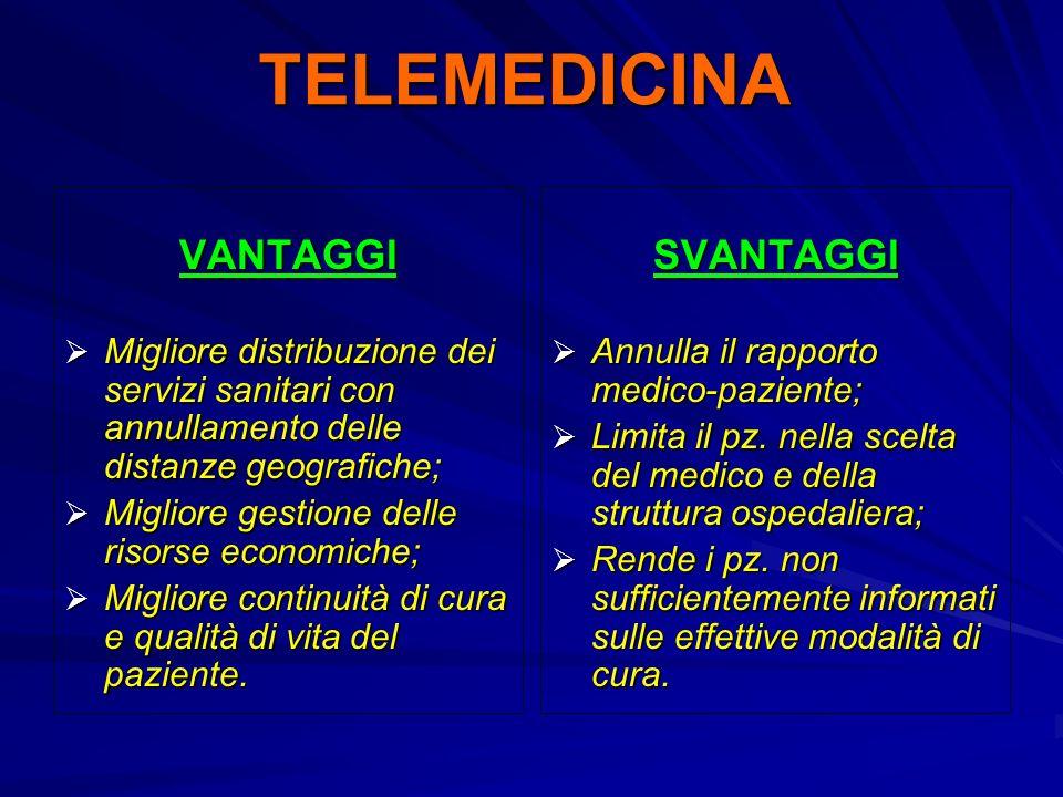 TELEMEDICINA VANTAGGI Migliore distribuzione dei servizi sanitari con annullamento delle distanze geografiche; Migliore distribuzione dei servizi sani