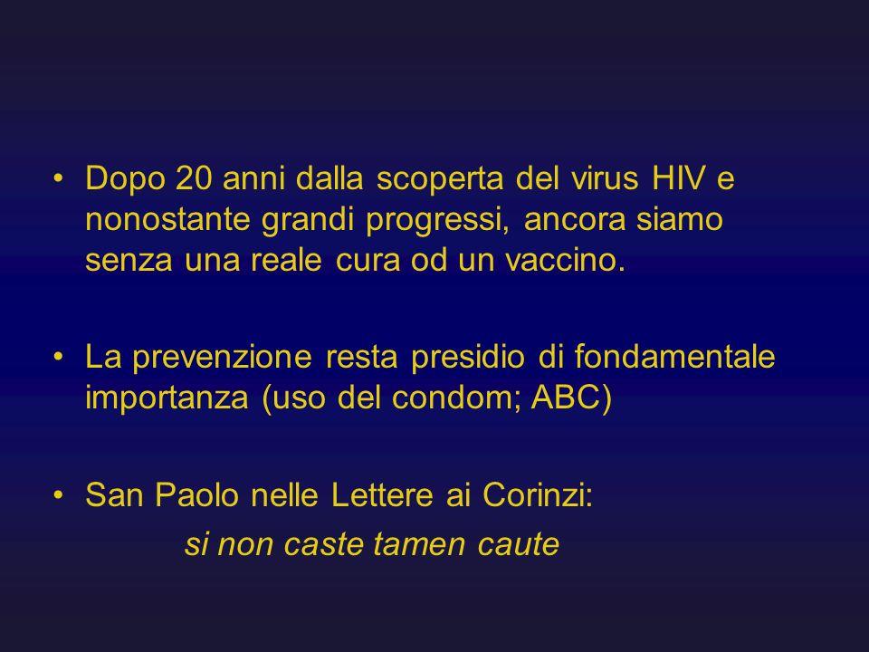 Dopo 20 anni dalla scoperta del virus HIV e nonostante grandi progressi, ancora siamo senza una reale cura od un vaccino. La prevenzione resta presidi