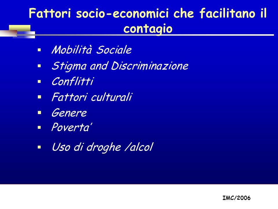Part A/Module A1/Session 2 Fattori socio-economici che facilitano il contagio Mobilità Sociale Stigma and Discriminazione Conflitti Fattori culturali Genere Poverta Uso di droghe /alcol IMC/2006