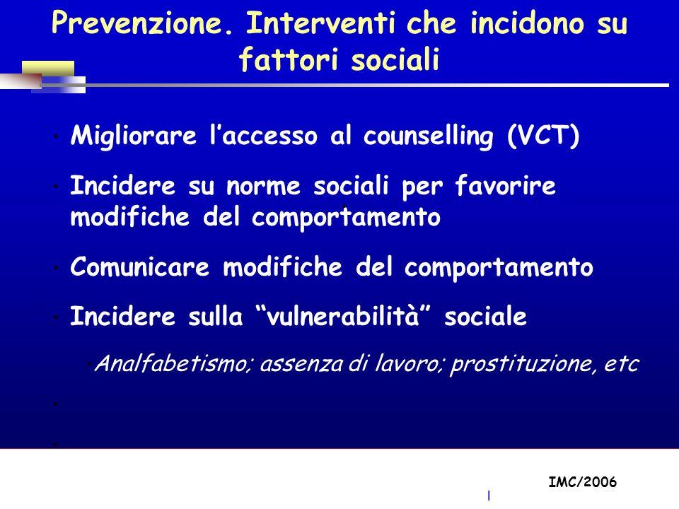 Part A/Module A1/Session 2 Migliorare laccesso al counselling (VCT) Incidere su norme sociali per favorire modifiche del comportamento Comunicare modifiche del comportamento Incidere sulla vulnerabilità sociale Analfabetismo; assenza di lavoro; prostituzione, etc IMC/2006 Prevenzione.