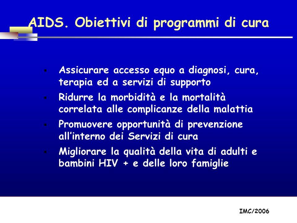 Part A/Module A1/Session 2 AIDS. Obiettivi di programmi di cura Assicurare accesso equo a diagnosi, cura, terapia ed a servizi di supporto Ridurre la