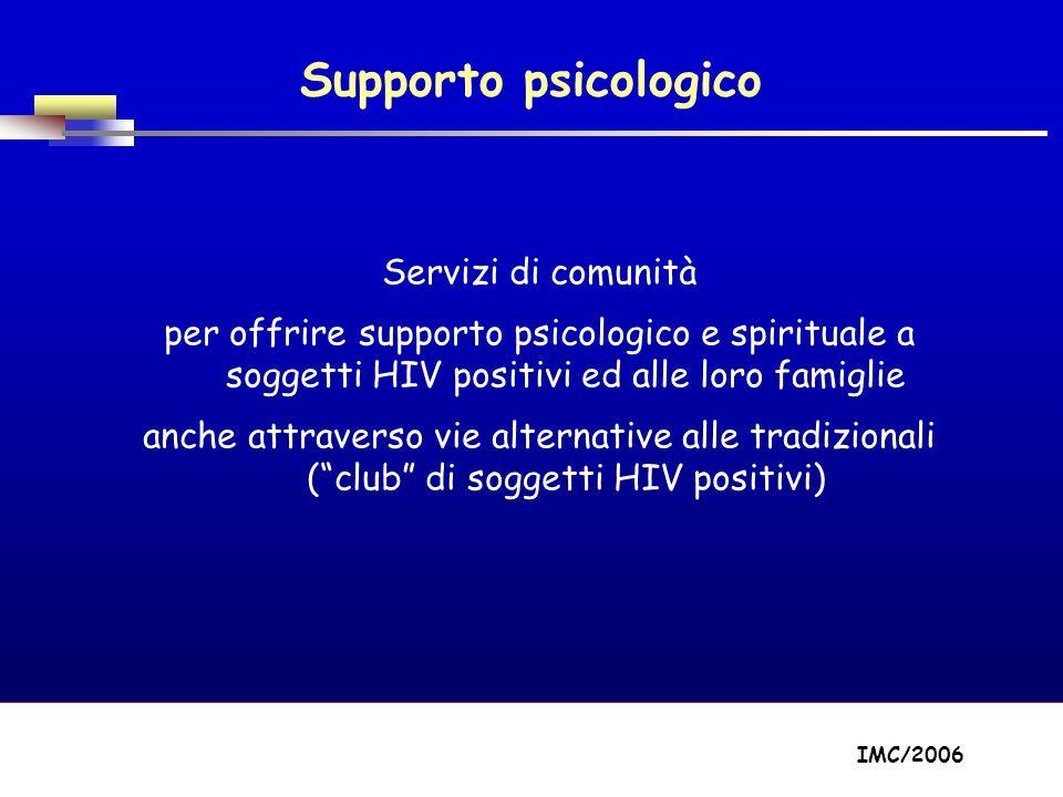 Part A/Module A1/Session 2 Supporto psicologico Servizi di comunità per offrire supporto psicologico e spirituale a soggetti HIV positivi ed alle loro famiglie anche attraverso vie alternative alle tradizionali (club di soggetti HIV positivi) IMC/2006