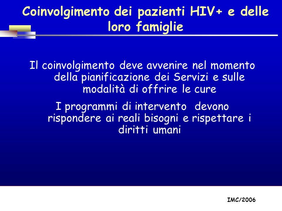 Part A/Module A1/Session 2 Coinvolgimento dei pazienti HIV+ e delle loro famiglie Il coinvolgimento deve avvenire nel momento della pianificazione dei Servizi e sulle modalità di offrire le cure I programmi di intervento devono rispondere ai reali bisogni e rispettare i diritti umani IMC/2006