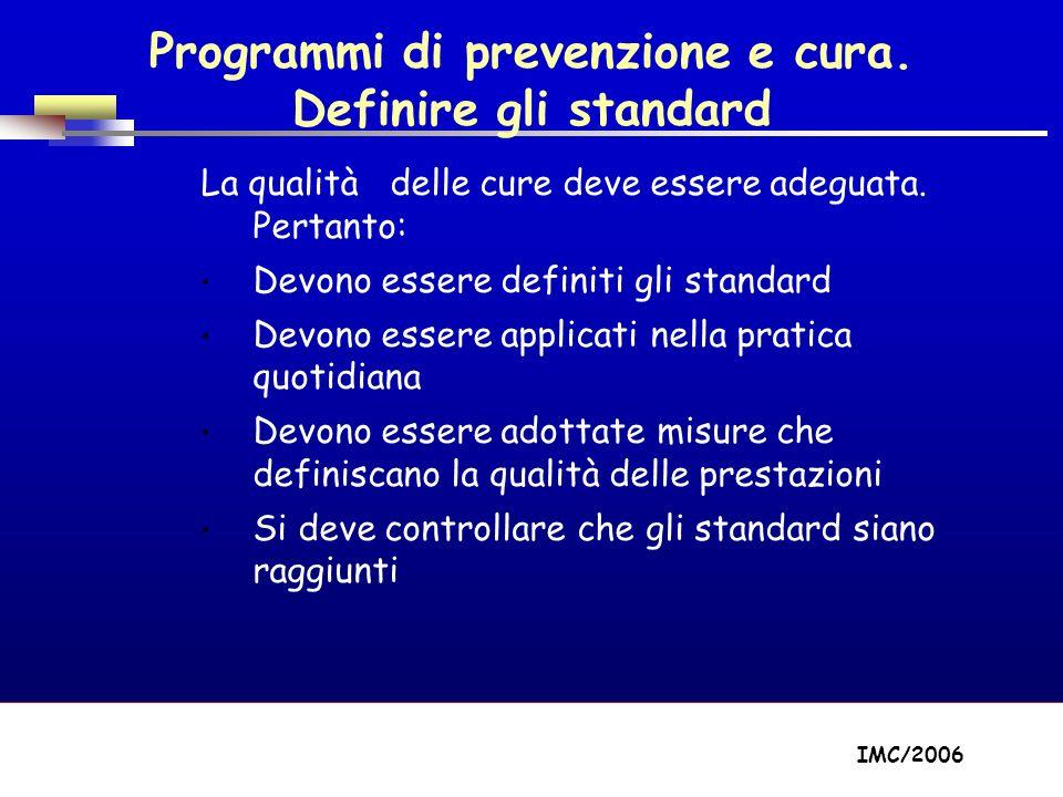 Part A/Module A1/Session 2 Programmi di prevenzione e cura. Definire gli standard La qualità delle cure deve essere adeguata. Pertanto: Devono essere