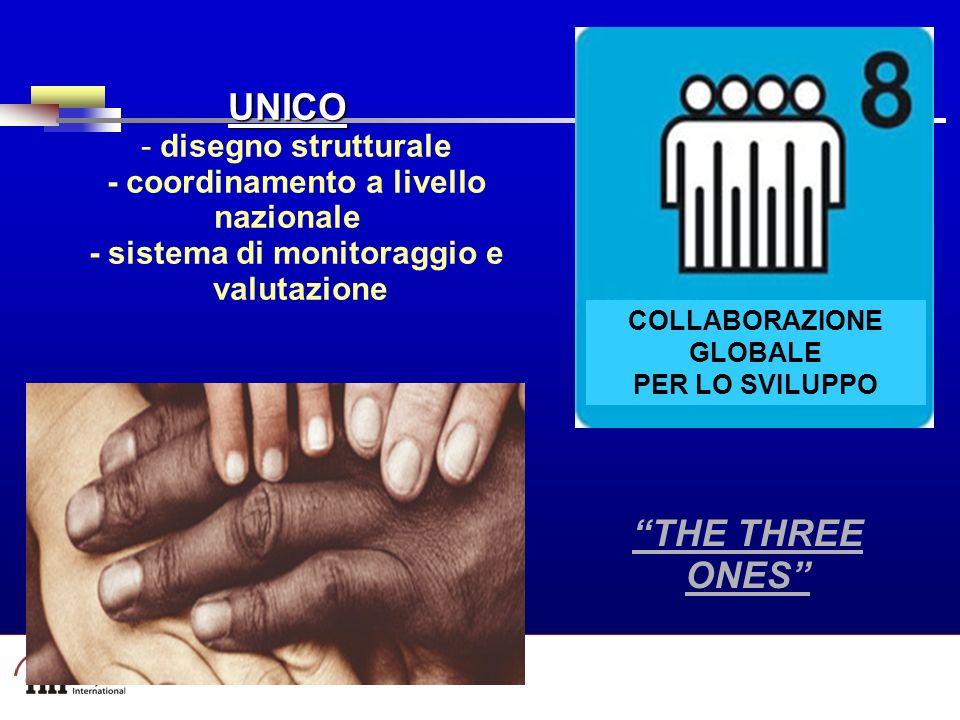 Part A/Module A1/Session 2 UNICO UNICO - disegno strutturale - coordinamento a livello nazionale - sistema di monitoraggio e valutazione COLLABORAZIONE GLOBALE PER LO SVILUPPO THE THREE ONES