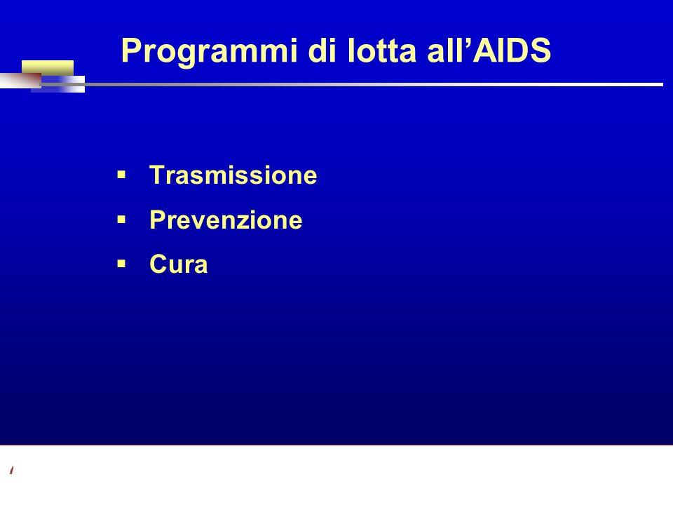 Part A/Module A1/Session 2 Programmi di lotta allAIDS Trasmissione Prevenzione Cura