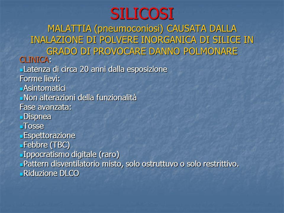 SILICOSI MALATTIA (pneumoconiosi) CAUSATA DALLA INALAZIONE DI POLVERE INORGANICA DI SILICE IN GRADO DI PROVOCARE DANNO POLMONARE CLINICA: Latenza di c