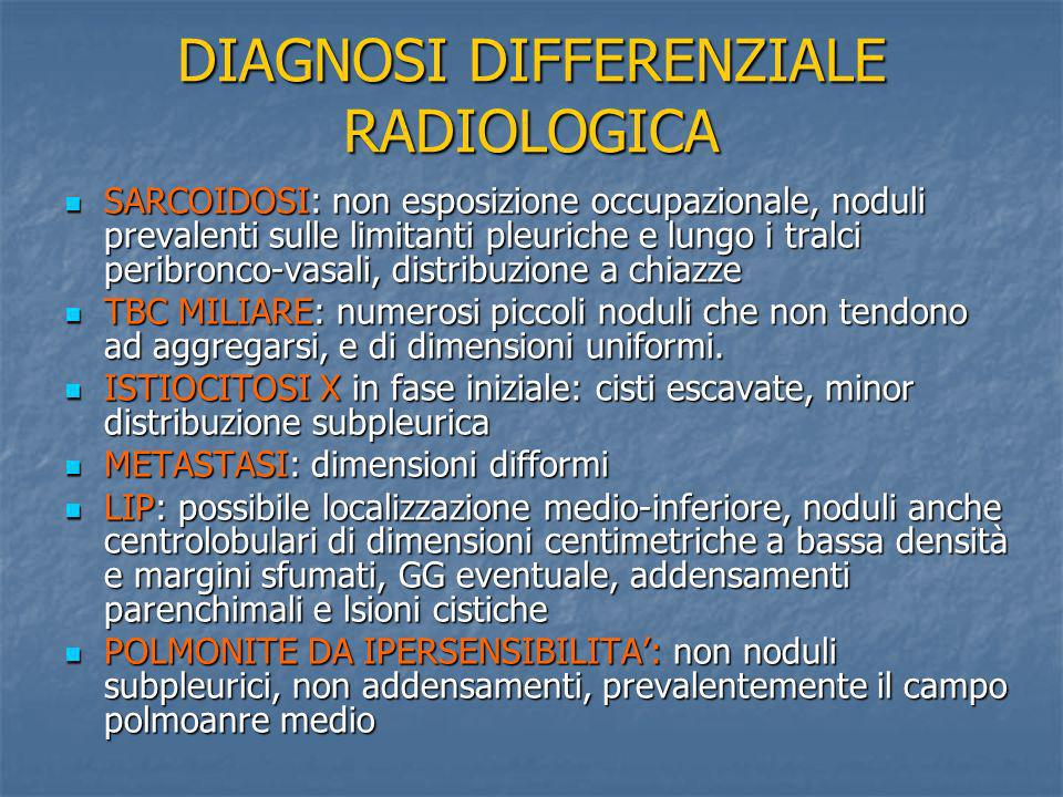DIAGNOSI DIFFERENZIALE RADIOLOGICA SARCOIDOSI: non esposizione occupazionale, noduli prevalenti sulle limitanti pleuriche e lungo i tralci peribronco-