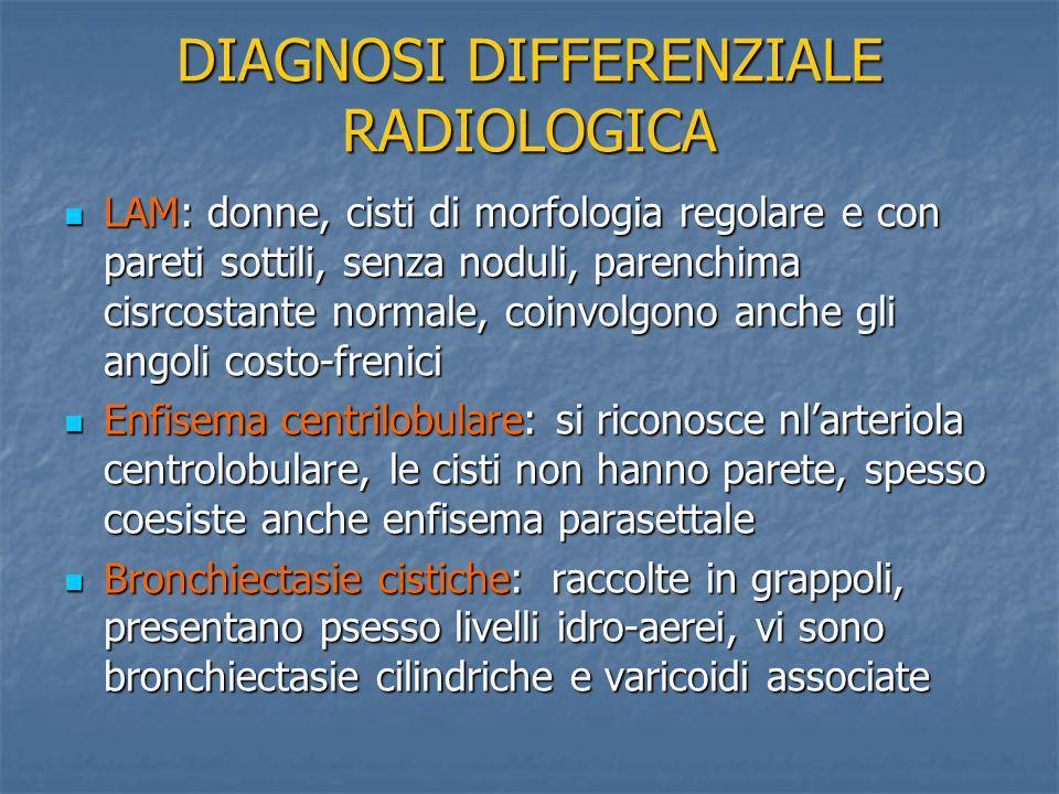 DIAGNOSI DIFFERENZIALE RADIOLOGICA LAM: donne, cisti di morfologia regolare e con pareti sottili, senza noduli, parenchima cisrcostante normale, coinv