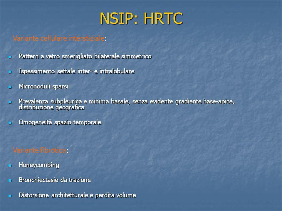 NSIP: DD Radiologica DIP: GGO basale e periferico con ispessimento settale intralobulare e cisti < 2 cm.