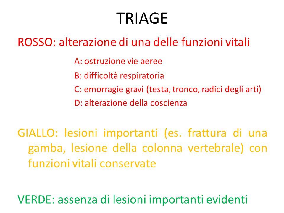 TRIAGE ROSSO: alterazione di una delle funzioni vitali A: ostruzione vie aeree B: difficoltà respiratoria C: emorragie gravi (testa, tronco, radici de