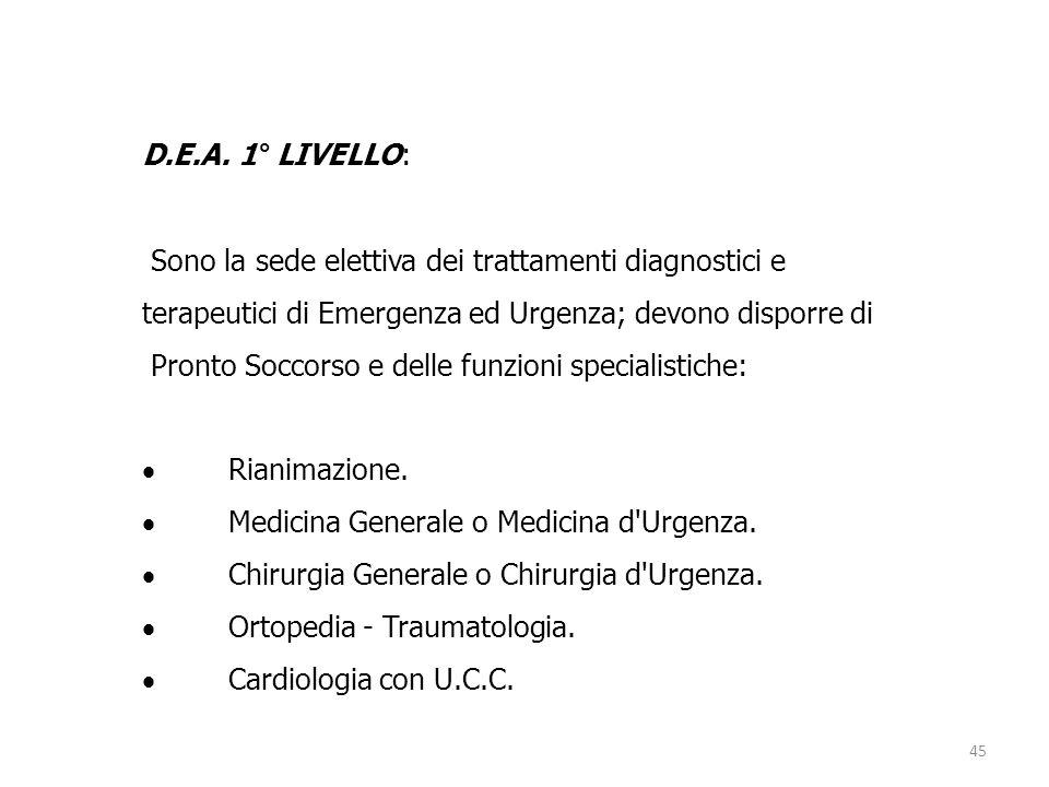 45 D.E.A. 1° LIVELLO: Sono la sede elettiva dei trattamenti diagnostici e terapeutici di Emergenza ed Urgenza; devono disporre di Pronto Soccorso e de
