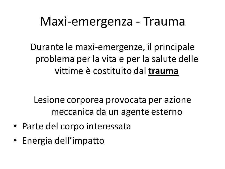 Maxi-emergenza - Trauma Durante le maxi-emergenze, il principale problema per la vita e per la salute delle vittime è costituito dal trauma Lesione co