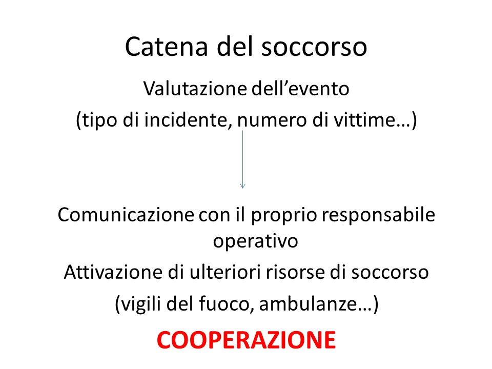 Catena del soccorso Valutazione dellevento (tipo di incidente, numero di vittime…) Comunicazione con il proprio responsabile operativo Attivazione di
