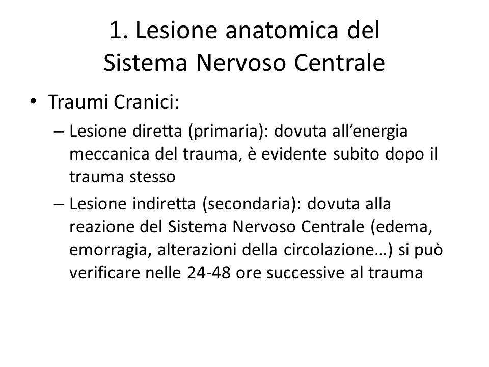 1. Lesione anatomica del Sistema Nervoso Centrale Traumi Cranici: – Lesione diretta (primaria): dovuta allenergia meccanica del trauma, è evidente sub
