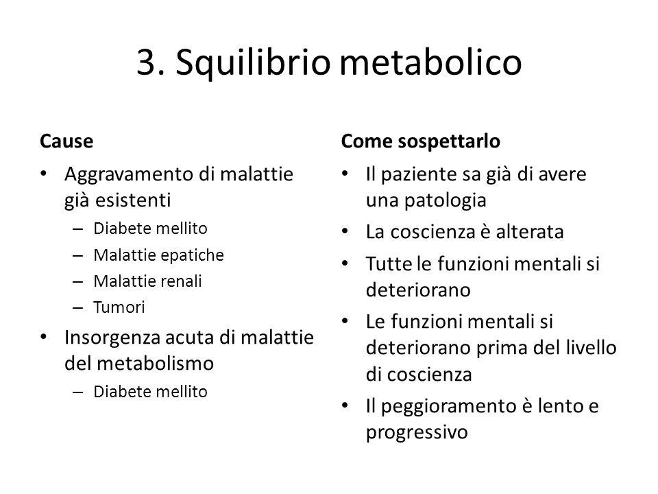 3. Squilibrio metabolico Cause Aggravamento di malattie già esistenti – Diabete mellito – Malattie epatiche – Malattie renali – Tumori Insorgenza acut