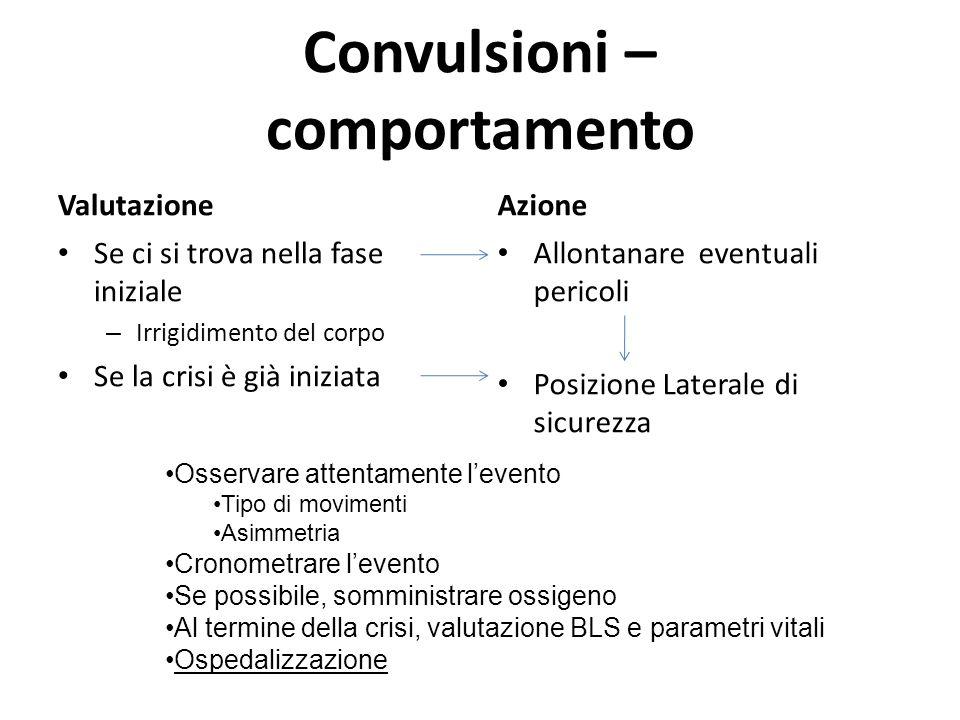 Convulsioni – comportamento Valutazione Se ci si trova nella fase iniziale – Irrigidimento del corpo Se la crisi è già iniziata Azione Allontanare eve