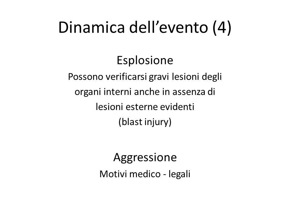Dinamica dellevento (4) Esplosione Possono verificarsi gravi lesioni degli organi interni anche in assenza di lesioni esterne evidenti (blast injury)