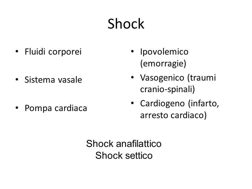 Shock Fluidi corporei Sistema vasale Pompa cardiaca Ipovolemico (emorragie) Vasogenico (traumi cranio-spinali) Cardiogeno (infarto, arresto cardiaco)