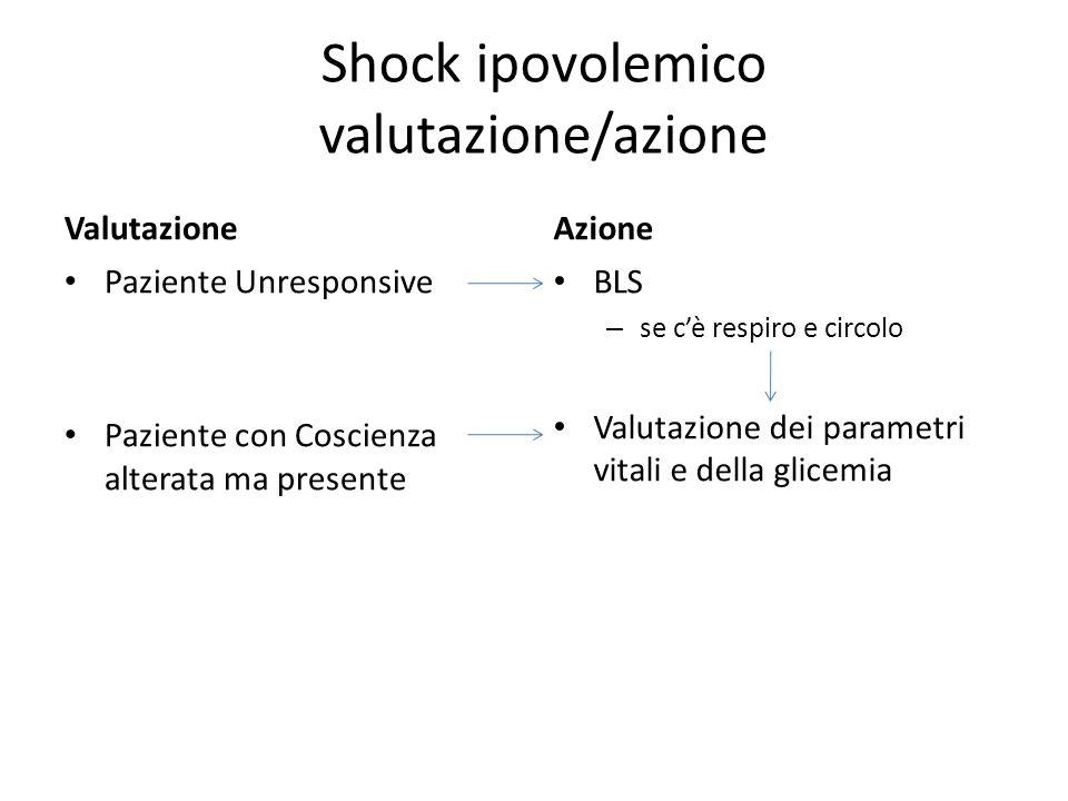 Shock ipovolemico valutazione/azione Valutazione Paziente Unresponsive Paziente con Coscienza alterata ma presente Azione BLS – se cè respiro e circol