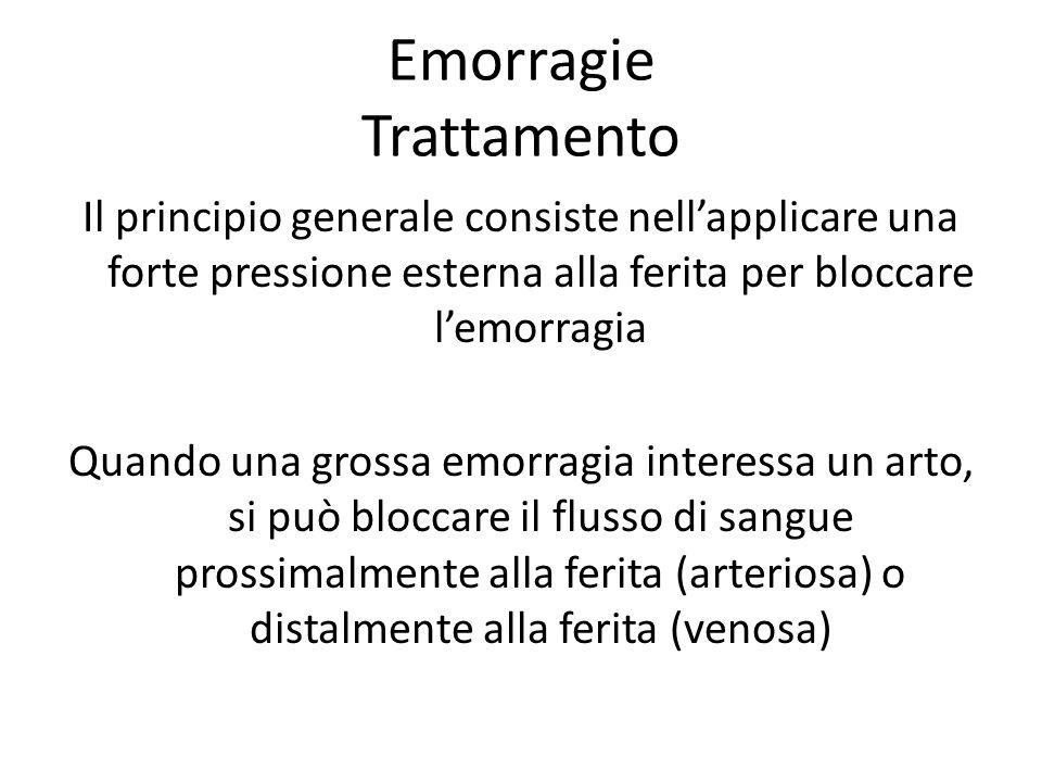 Emorragie Trattamento Il principio generale consiste nellapplicare una forte pressione esterna alla ferita per bloccare lemorragia Quando una grossa e