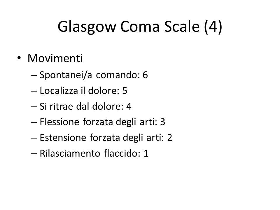 Glasgow Coma Scale (4) Movimenti – Spontanei/a comando: 6 – Localizza il dolore: 5 – Si ritrae dal dolore: 4 – Flessione forzata degli arti: 3 – Esten