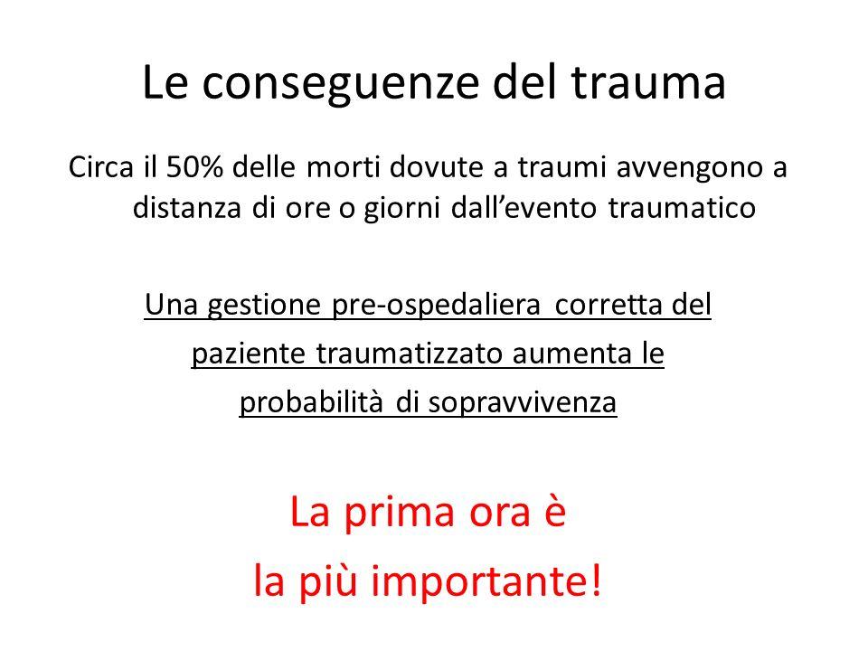 Le conseguenze del trauma Circa il 50% delle morti dovute a traumi avvengono a distanza di ore o giorni dallevento traumatico Una gestione pre-ospedal