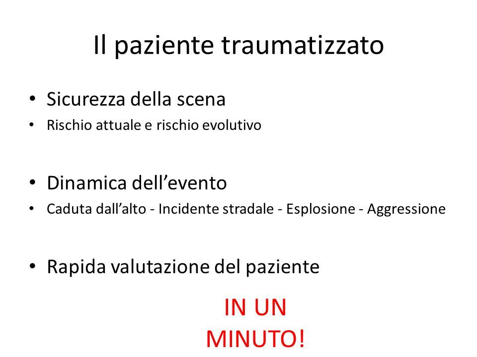 Il paziente traumatizzato Sicurezza della scena Rischio attuale e rischio evolutivo Dinamica dellevento Caduta dallalto - Incidente stradale - Esplosi
