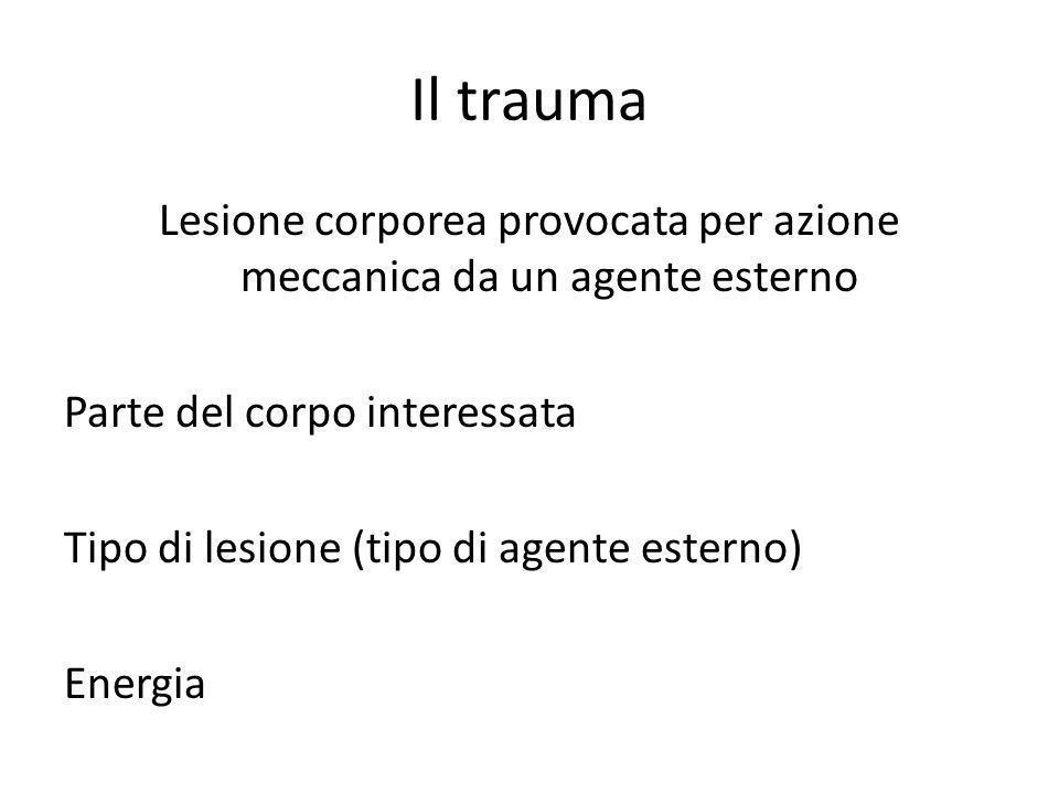 Il trauma Lesione corporea provocata per azione meccanica da un agente esterno Parte del corpo interessata Tipo di lesione (tipo di agente esterno) En