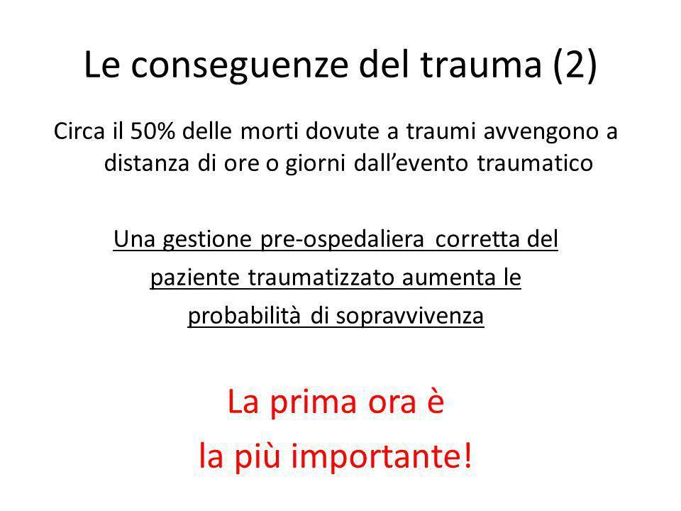 Le conseguenze del trauma (2) Circa il 50% delle morti dovute a traumi avvengono a distanza di ore o giorni dallevento traumatico Una gestione pre-osp