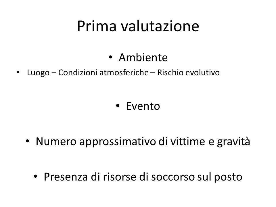 Prima valutazione Ambiente Luogo – Condizioni atmosferiche – Rischio evolutivo Evento Numero approssimativo di vittime e gravità Presenza di risorse d