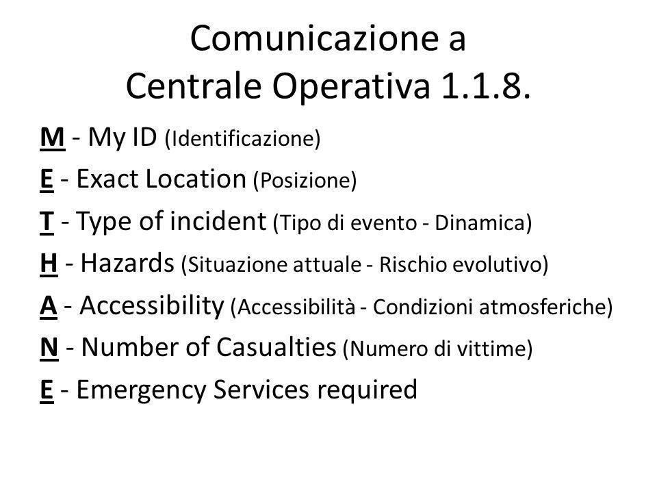 Comunicazione a Centrale Operativa 1.1.8. M - My ID (Identificazione) E - Exact Location (Posizione) T - Type of incident (Tipo di evento - Dinamica)