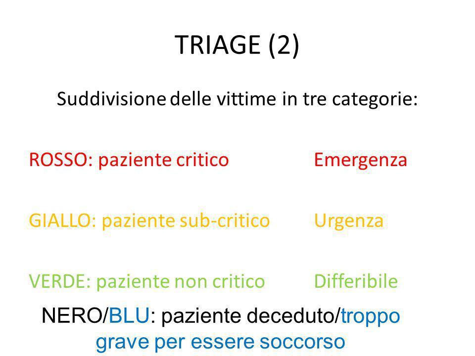 TRIAGE (2) Suddivisione delle vittime in tre categorie: ROSSO: paziente criticoEmergenza GIALLO: paziente sub-criticoUrgenza VERDE: paziente non criti
