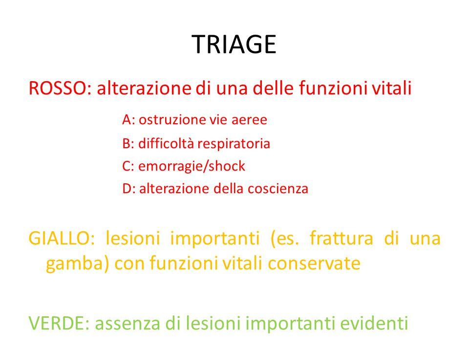 TRIAGE ROSSO: alterazione di una delle funzioni vitali A: ostruzione vie aeree B: difficoltà respiratoria C: emorragie/shock D: alterazione della cosc