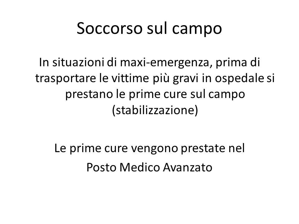 Soccorso sul campo In situazioni di maxi-emergenza, prima di trasportare le vittime più gravi in ospedale si prestano le prime cure sul campo (stabili