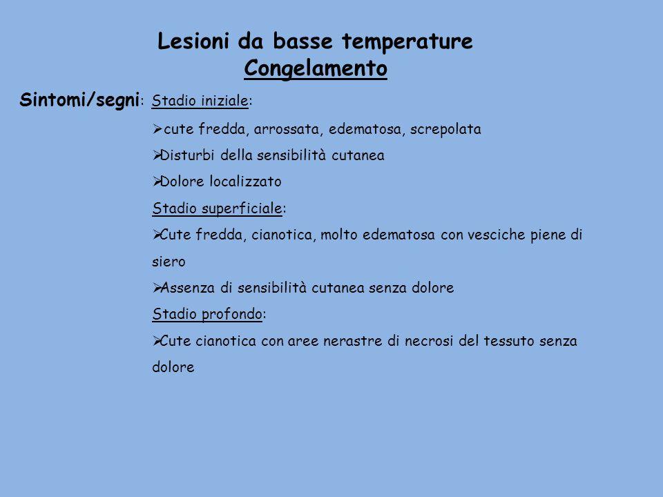 Lesioni da basse temperature Congelamento Sintomi/segni : Stadio iniziale: cute fredda, arrossata, edematosa, screpolata Disturbi della sensibilità cu