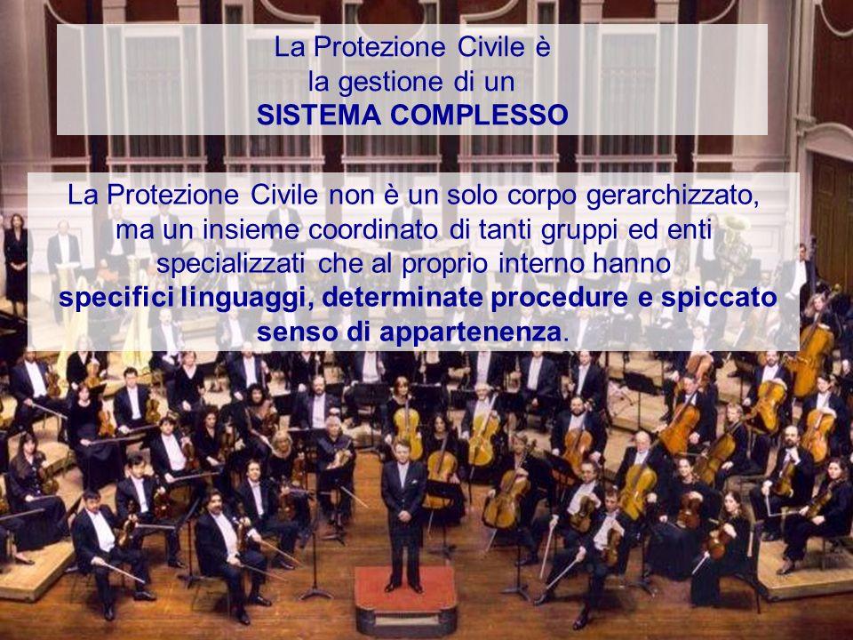 La Protezione Civile è la gestione di un SISTEMA COMPLESSO La Protezione Civile non è un solo corpo gerarchizzato, ma un insieme coordinato di tanti g