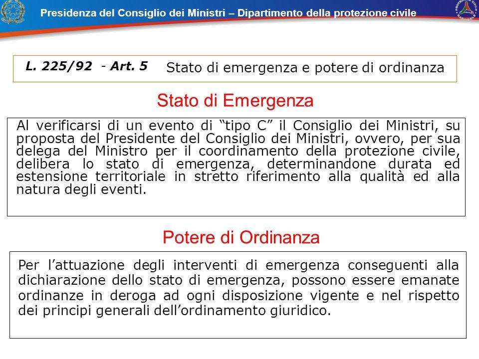 Al verificarsi di un evento di tipo C il Consiglio dei Ministri, su proposta del Presidente del Consiglio dei Ministri, ovvero, per sua delega del Min