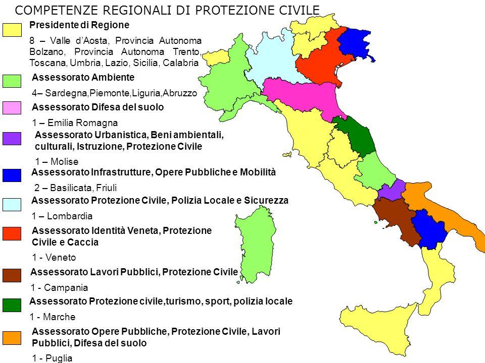 Assessorato Ambiente 4– Sardegna,Piemonte,Liguria,Abruzzo Assessorato Protezione civile,turismo, sport, polizia locale 1 - Marche Assessorato Protezio
