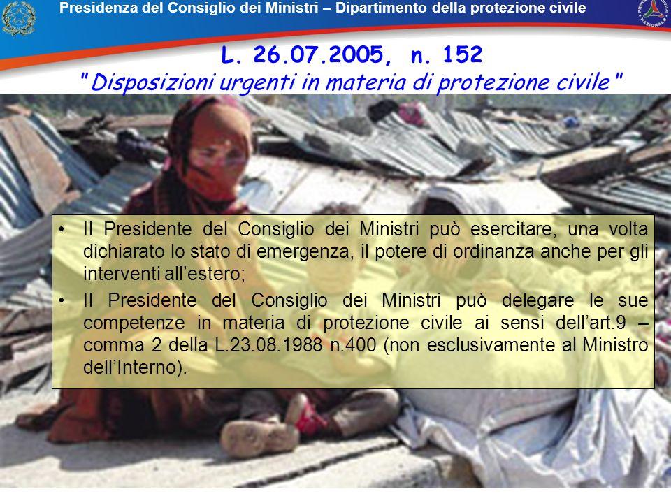 Il Presidente del Consiglio dei Ministri può esercitare, una volta dichiarato lo stato di emergenza, il potere di ordinanza anche per gli interventi a