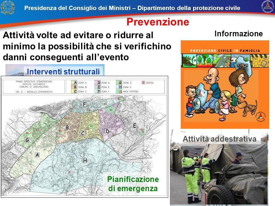 Formazione Interventi strutturali Attività addestrativa Pianificazione di emergenza Presidenza del Consiglio dei Ministri – Dipartimento della protezi