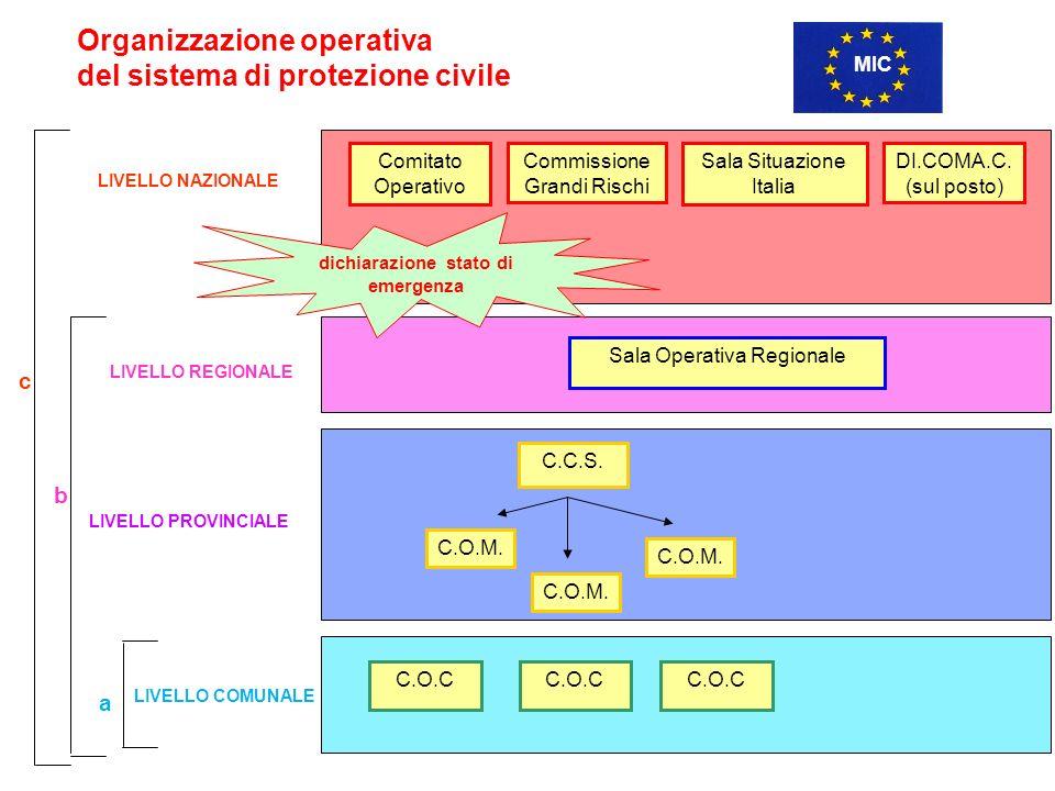 Sala Operativa Regionale LIVELLO REGIONALE C.O.M.C.C.S.