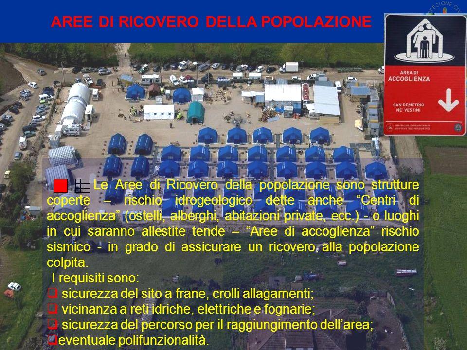 Le Aree di Ricovero della popolazione sono strutture coperte – rischio idrogeologico dette anche Centri di accoglienza (ostelli, alberghi, abitazioni